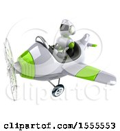 Poster, Art Print Of 3d Green And White Robot Flying An Airplane On A White Background