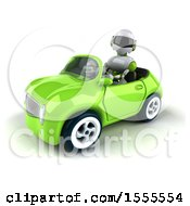 Poster, Art Print Of 3d Green And White Robot Driving A Convertible On A White Background