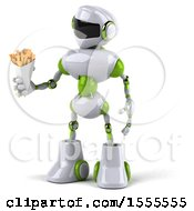 Poster, Art Print Of 3d Green And White Robot Holding French Fries On A White Background