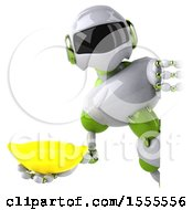 Poster, Art Print Of 3d Green And White Robot Holding A Banana On A White Background