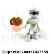 Poster, Art Print Of 3d Green And White Robot Holding A Cupcake On A White Background