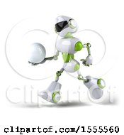 Poster, Art Print Of 3d Green And White Robot Holding A Golf Ball On A White Background