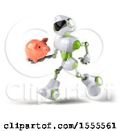 Poster, Art Print Of 3d Green And White Robot Holding A Piggy Bank On A White Background