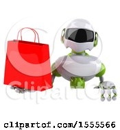 Clipart Of A 3d Green And White Robot Holding A Shopping Bag On A White Background Royalty Free Illustration