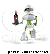 Poster, Art Print Of 3d Green And White Robot Holding Wine On A White Background