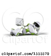 Poster, Art Print Of 3d Green And White Robot Holding An Envelope On A White Background