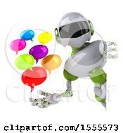 Poster, Art Print Of 3d Green And White Robot Holding Messages On A White Background