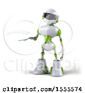 Poster, Art Print Of 3d Green And White Robot Holding A Plate On A White Background