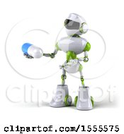 Poster, Art Print Of 3d Green And White Robot Holding A Pill On A White Background