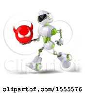 Poster, Art Print Of 3d Green And White Robot Holding A Devil On A White Background