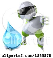 Poster, Art Print Of 3d Green And White Robot Holding A Water Drop On A White Background