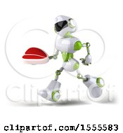3d Green And White Robot Holding A Steak On A White Background
