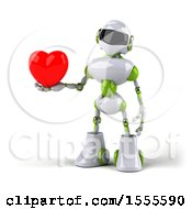 Poster, Art Print Of 3d Green And White Robot Holding A Heart On A White Background