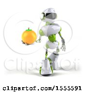 Poster, Art Print Of 3d Green And White Robot Holding An Orange On A White Background