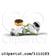 Poster, Art Print Of 3d Green And White Robot Holding A Donut On A White Background