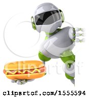 Poster, Art Print Of 3d Green And White Robot Holding A Hot Dog On A White Background