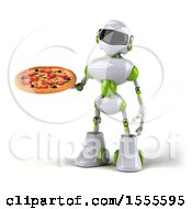 Poster, Art Print Of 3d Green And White Robot Holding A Pizza On A White Background