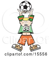 Freckled Blond Haired Boy Holding A Soccer Ball High Up Above His Head Clipart Illustration