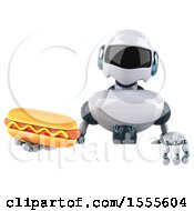 Poster, Art Print Of 3d Blue And White Robot Holding A Hot Dog On A White Background