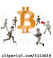 Poster, Art Print Of 3d Bitcoin Currency Symbol With Soldiers On A White Background