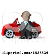 3d Short Black Business Man With A Convertible Car On A White Background