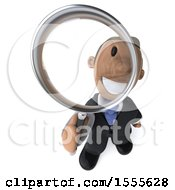 3d Short Black Business Man Searching With A Magnifying Glass On A White Background