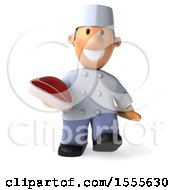 3d Short White Male Chef Holding A Steak On A White Background