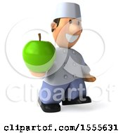 Clipart Of A 3d Short White Male Chef Holding An Apple On A White Background Royalty Free Illustration