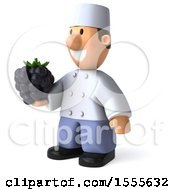 3d Short White Male Chef Holding A Blackberry On A White Background