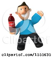 Poster, Art Print Of 3d Casual White Man In A Blue Shirt Holding A Soda On A White Background
