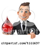3d Young White Business Man Holding A Blood Drop On A White Background