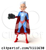 3d Young White Haired Caucasian Female Super Hero In A Blue And Red Suit Holding A Camera On A White Background