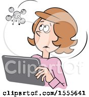 Clipart Of A Cartoon Drone Hovering Over A White Woman Using A Tablet Royalty Free Vector Illustration