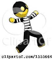 Yellow Thief Man Running Away In Hysterical Panic Direction Right