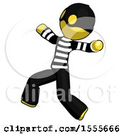 Yellow Thief Man Running Away In Hysterical Panic Direction Left