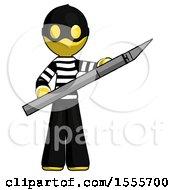 Yellow Thief Man Holding Large Scalpel