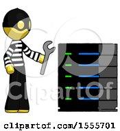 Yellow Thief Man Server Administrator Doing Repairs
