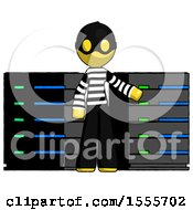 Yellow Thief Man With Server Racks In Front Of Two Networked Systems