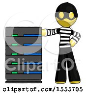 Yellow Thief Man With Server Rack Leaning Confidently Against It
