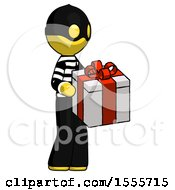 Yellow Thief Man Giving A Present
