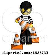 Yellow Thief Man Holding A Traffic Cone