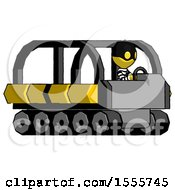 Yellow Thief Man Driving Amphibious Tracked Vehicle Side Angle View