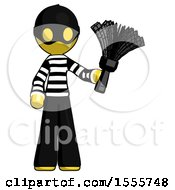 Yellow Thief Man Holding Feather Duster Facing Forward