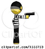 Yellow Thief Man Firing A Handgun