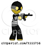 Yellow Thief Man Shooting Automatic Assault Weapon