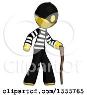 Yellow Thief Man Walking With Hiking Stick