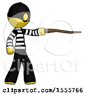 Yellow Thief Man Pointing With Hiking Stick