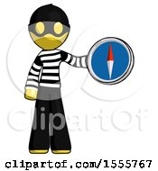Yellow Thief Man Holding A Large Compass