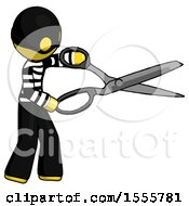 Yellow Thief Man Holding Giant Scissors Cutting Out Something
