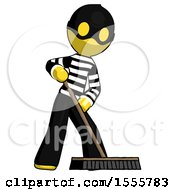 Yellow Thief Man Cleaning Services Janitor Sweeping Floor With Push Broom